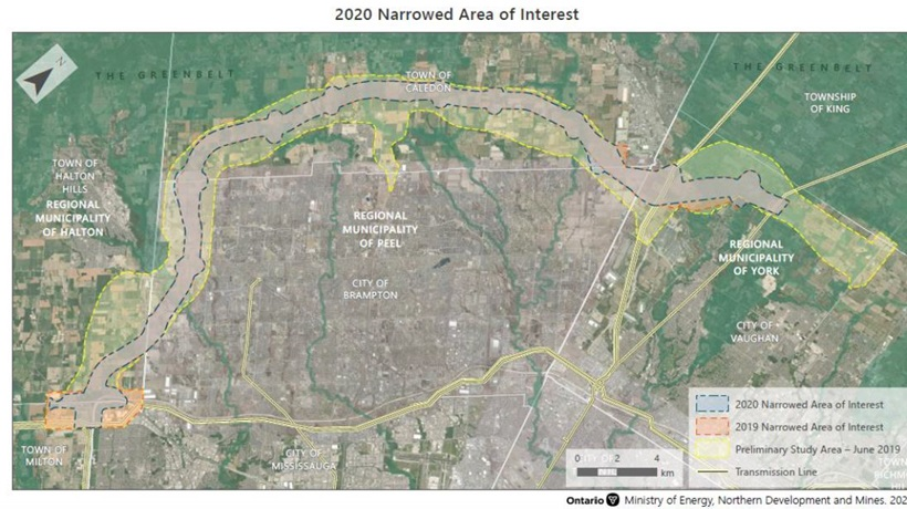 Map of the narrowed area of interest. A preliminary study in June 2019 identified a larger possible area that was further refined in 2019. In 2020 the area of interest was narrows down further and currently runs from the Town of Milton to the City of Vaughan and crosses through the regional municipalities of Halon, Peel and York.
