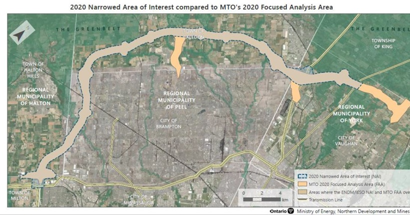 Map showing 2020 narrowed area of interest compared to MTO's 2020 focused analysis area. The new are runs rom approximately the Town of Milton to the City of Vaughan and crosses the regional municipalities of Halton, Peel and York. The are being considered by the MTO overlaps with the ENDM/IESO NAI.