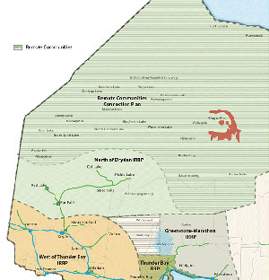 Map of Northwest Ontario region