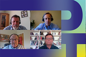 Powering tomorrow podcast - four people talking via Skype
