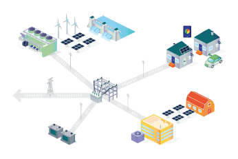 Illustration depicting distributed energy resources: smart homes, generation, consumers with generation and controllable equipment, storage, all in the local distribution grid